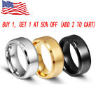 8MM Stainless Steel Ring Band Titanium Black Men's SZ 6 to 12 Wedding Rings Man image