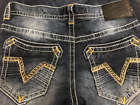 AFFLICTION Mens Denim Jeans ACE STANDARD V GLENDALE Embroidered BKE $135 NWT