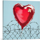 ARTCANVAS Love Hurts: Barbed Wire Heart Ballon Canvas Art Print by Banksy