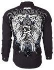 XTREME COUTURE by AFFLICTION Men L/S BUTTON DOWN Shirt KINGS FALL Skulls UFC $78