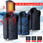 Mens USB Electric Heated Vest Winter Heating Thermal Jacket Clothes Coat Heater