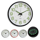 12'' Silent Wall Clock Glow In The Dark Quartz Indoor/Outdoor White Noctilucent