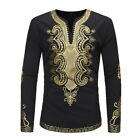 Mens African Casual Shirts Ethnic Printed Long-sleeve Fitted Traditional T-Shirt