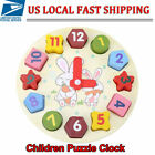 Wooden Puzzle Kid Toys Cognitive Jigsaw Cartoon Geometry Clock For Baby Children