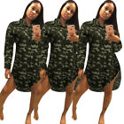 Fashion Women Sexy Lapel Long Sleeve Camouflage Single-breasted Irregular Dress