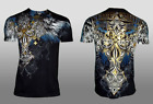 XTREME COUTURE by AFFLICTION Mens T-Shirt ENSIGN Cross Wings BLACK Biker UFC $40 image