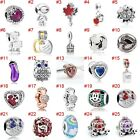 European Silver Charms Merry Xmas Beads CZ Pendant Fit 925 Sterling Bracelets image