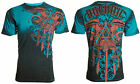ARCHAIC by AFFLICTION Men T Shirt DAVENTRY Cross Wings BLUE Tattoo Biker UFC 40