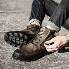 Men's Lace Up Zip Ankle Boots Round Toe Outdoor Hiking Leather Shoes Sz 38-46