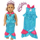 2X 18inch Doll Clothes Mermaid Dress Crown Outfits For America Girl Kid Toy Gift
