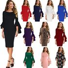 Vfemage Womens Bell Sleeve Floral Lace Slim Evening Cocktail Party Bodycon Dress