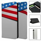 Phone Flip Wallet Case Cover American Flag Pattern - S7317