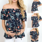 Внешний вид - Women Short Sleeve Tops Pregnancy Off Shoulder Floral T-Shirt Maternity B1 Lot