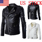 Mens PU Leather Biker Jackets Slim Fit Zipper Motorcycle Coats Tops Outwear GIFT