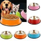 Pets Dog Cat Puppy Anti Skid Stainless Steel Feeding Food Water Bowl Dish GIFT