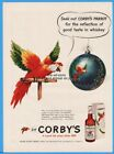 1951 Corby's Reserve Whiskey Christmas Ornament Parrot Jas. Barclay Peoria IL Ad