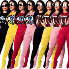 Sexy Sequin Lips Eyes Tracksuit Women Long Sleeve Pullover Tops+Skinny Pants Set