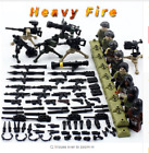 8Pcs WW2 Heavy Fire Army Soldier Figures With Weapons Military Fit Lego Building