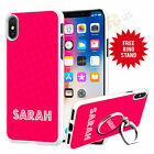 Personalised Name Phone Case Cover & Finger Ring Stand For Top Mobiles 054-1