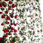 Hanging Artificial Rose Flower Wedding Wall Vine Plant Leaves Decorations Art