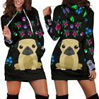 New Sweater Dog Lover Charming Pugs Hoodie Dress with Cute Pug Dogs