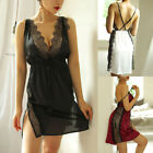 Women Sexy Lace Nightdress V-Neck Perspective Lace  Backless Nightwear US