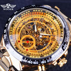Men's Golden Stainless Winner Vintage Skeleton Automatic Mechanical Wrist Watch