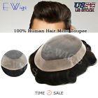 Mens Toupee Mono Poly Remy Indian 100% Black Brown Human Hair Wigs Replacements