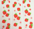 25mm WHITE AND RED STRAWBERRY SPRING FLORAL GROSGRAIN RIBBON - GG6093