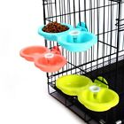 US Pet Dog Cat Bird Rabbit Dual Bowl Feeder Cage Food Water Drink Dispenser New