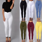 Women's Pencil Stretch Casual Denim Skinny Jeans Pants High Waist Trousers Hot