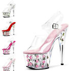 15CM Heel Womens High Stiletto Heel Party Evening transparency Strap Shoes Red