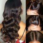 Unprocess Long Wavy Dark Brown Lace Front Wig Indian Remy Human Hair Full Wigs V