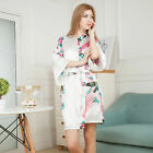 Summer silk female short peacock kimono pajamas robe