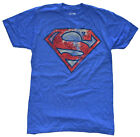 DC Comics Superman Distressed Logo Royal Blue Heather Men's T-Shirt New