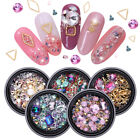 3D Nail Rhinestones Mixed Size AB Color Flat Bottom Metal Studs Nail Art Rivets