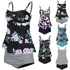 Womens Tankini Swimsuit Two Piece Bathing Suit Swimdress w/ High Waisted Bottoms