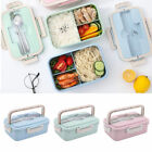 Students Portable Wheat Straw Lunch Box Separate Bento Lunch Box With Tableware
