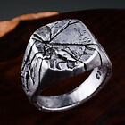 Men's Cracking Pattern Punk Rings Domineering Bark Crack Ring Silver Jewelry GI