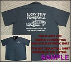 DELUXE REDNECK FUNERAL HEARSE BEER GRAVEYARD COFFIN SKELETON SKULL WORK SHIRT