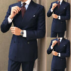 Men Navy Blue Suit Grooms Double Breasted Formal Wedding Party Wear (Coat+Pant)