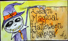 CREEPY WITCH HALLOWEEN MAKEUP CLASS ART PAINTING WATERCOLOR OUTSIDER FOLK BRUT