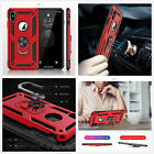 Red Armor magnetic ametal plate ring cover Case fr Samsung iphone LG Huawei