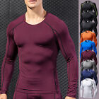Mens Compression T-Shirt Muscle Long Sleeve Gym Under Base Layer Sports Tops image