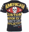 AFFLICTION Mens T-Shirt MOTOR CO American Customs BLACK Motorcycle Biker $58 image