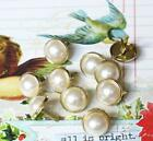 24 pieces - 12mm PEARL BRADS - WHITE w/Gold Trim Wedding Party Cards