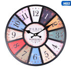 12 Inch Wooden Wall Clock Decor Decorative Rustic Colorful Tuscan Country Style