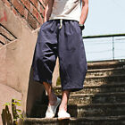 Mens Cotton Linen Shorts Elastic Waist Loose Casual Summer Beach Breathable Soft