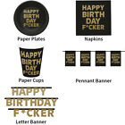 HAPPY BIRTHDAY F*CKER BLACK RUDE DECORATIONS - COMPLETE PARTYWARE COLLECTION