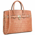 Women Handbag Croco Embossed Work Satchel Tote Ladies Shoulder Briefcase Purse